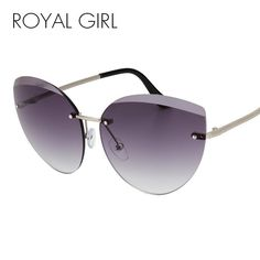 63730b24cf01 ROYAL GIRL 2017 Newest Fashion Rimless Sunglasses Women Luxury Brand  Designer Metal Frame Cat Eye Glasses oculos UV400 ss987