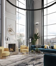 Currently obsessing over this incredible living room by The subtle pops of colour bring to life, while those high ceilings are to die for! Luxury Interior, Luxury Furniture, Home Interior Design, Home Design, High Ceiling Living Room Modern, Living Room Designs, Living Room Decor, Living Rooms, Decor Room