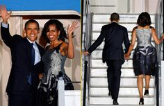 The First Lady was a beauty boarding Air Force One in Berlin in a Carolina Herrera swirl pattern cocktail dress