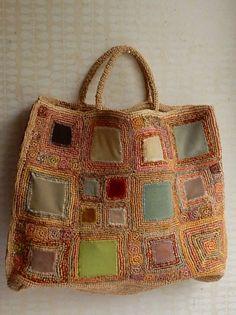 """Sophie Digard crochet """"Manouche"""" raffia/velvet bag:"""