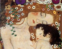 """One of my favorite pieces of artwork -- by one of my favorite artists - Gustav Klimt. You should study not only that you become a mother when your child is born, but also that you become a child Dogen """"mother and child"""" Gustav Klimt Gustav Klimt, Klimt Art, Art Nouveau, Illustration, Canvas Prints, Art Prints, Klimt Prints, Canvas Art, Needlepoint Canvases"""