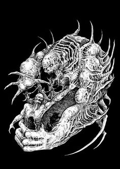 By MFA XII Arte Horror, Horror Art, Epic Art, Amazing Art, Death Metal, Evil Skull Tattoo, Eagle Drawing, Stoner Art, Skeleton Art