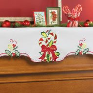 Embroidered Candy Cane Holiday Mantel Scarf from Collections Etc.