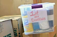 1st day essentials box... keep handy when moving.