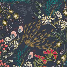 Indie Folk Meadow in Dim Bohemian Fabric Art Gallery Floral Art Gallery Fabrics, Art Floral, Floral Fabric, Lace Fabric, Floral Prints, Folk Embroidery, Embroidery Patterns, Learn Embroidery, Modern Embroidery