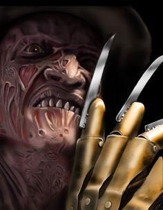 Horror Movie Art : Nightmare On Elm Street Scary Movie Characters, Scary Movies, Literary Characters, Horror Icons, Horror Films, Freddy Krueger, Arte Horror, Horror Art, Art Archive