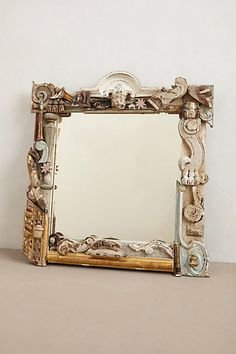 Forest Fragment Mirror #anthropologie. Would be a fun hack using chalk paint.