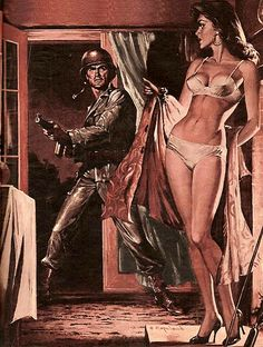 """Charles Copeland illustration for 'Stag ' magazine, January 1963 - """"No Return Mission Of Sgt Lew Terelli"""" Pulp Magazine, Magazine Art, Vintage Comics, Vintage Art, Arte Do Pulp Fiction, Serpieri, Illustration Art, Illustrations, Magazine Illustration"""