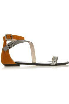 Jimmy Choo Nida suede, mirrored leather and elaphe sandals