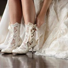 Bride Wearing Vintage Lace Ankle Wedding Boots
