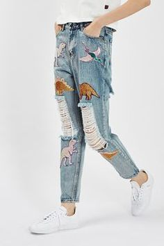 c5c1db69 **Destroyed Mom Jeans With Sequin Dinosaur Patches by Kuccia Hullede Jeans,  Mamma Jeans