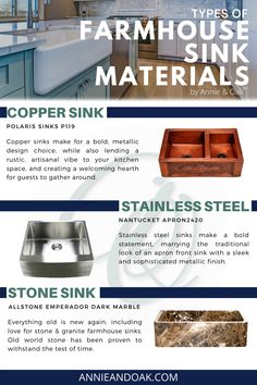 Looking For The Best Farmhouse Sink Material? Learn more about Our #1 Top Pick and Expert Opinion. There's a lot of personal preference involved when choosing the best farmhouse kitchen sink material. Fireclay is easy to clean and maintain, durable with a classic look. Stainless Steel kitchen sinks are the cheapest option perfect for the budget shopper. Copper is a bold, unique finish that is anti-bacterial. Read more resources at www.annieandoak.com. Cast Iron Farmhouse Sink, Stainless Steel Farmhouse Sink, Copper Farmhouse Sinks, Cast Iron Sink, Fireclay Farmhouse Sink, Fireclay Sink, Farmhouse Sink Kitchen, Rustic Kitchen, Copper Apron Sink