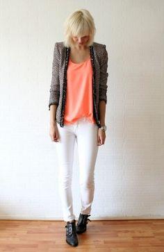 Love the blazer/neon tee combo