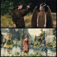 Young Maleficent and young Stefan, and the Fairies thistle twit, knotgrass, and flittle