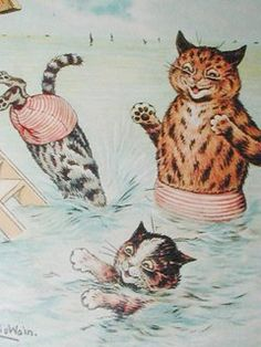 Bathing Cats A Mourning Dip, United Kingdom, 1904, by Lois Wain.