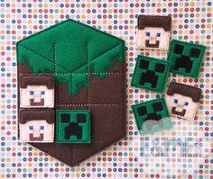 Mining Grass Cube Tic Tac Toe Felt Game by EandMeDesigns on Etsy, $6.00