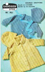 Bestway 3799 baby matinee coat cardigan and bonnet set vintage knitting pattern