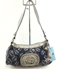 Kathy Van Zeeland Handbag Royal Treatment Top Zip Denim & Silver NWT