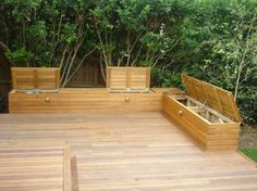 outdoor built in seats (jarrah or merbau), hinged lids with plenty of storage & lighting attached to side