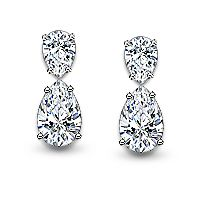 Ella Round With Rounds Halo Eurowire Cz Drop Earrings 8 0 Ct Tw 14k Jewelry By Mystique Pinterest White Gold And