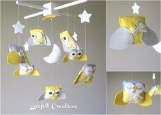 Baby Crib Mobile - Baby Mobile - Yellow and Gray Baby Mobile - Owl Mobile - Neutral Mobile. $135.00, via Etsy.