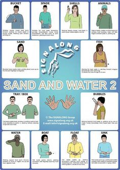 Sand and Water 2 Poster Tap the link to check out fidgets and sensory toys! Sign Language Basics, Sign Language Chart, Sign Language For Kids, Sign Language Phrases, Sign Language Alphabet, Learn Sign Language, Sign Language Interpreter, British Sign Language, Characteristics Of Learning