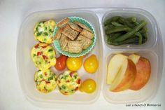 Mini quiche cups, tomatoes, mini Triscuits, steamed green beans, and an apple. #Easylunchboxes