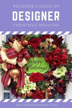 DIY Designer Holiday Wreath Tutorials Wreath Tutorial, Diy Tutorial, Bow Making Tutorials, Holiday Wreaths, Holiday Decor, Wreath Making Supplies, Cotton Decor, Magnolia Wreath, Floral Supplies