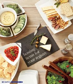 "Add entire entertaining collections with just  one click with a registry kickstarter! It's a  quick, convenient way to add to your registry  and get everything you need to entertain, and  guests will have plenty to choose from.  • Garnish hummus with chopped chives to  look gourmet  • Mix fresh dill into vegetable dip for a  ""homemade"" twist  • Add fresh cilantro to your favorite jarred  salsa  • Display in all-white serveware so your food  is the star"