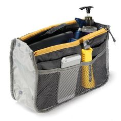 Women Travel Makeup Insert Handbag Organiser Purse Large Liner Organizer Bag Gray (gray) ** Additional details at the pin image, click it  : Christmas Luggage and Travel Gear