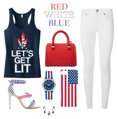 """""""4 of July ready"""" by lrandberg on Polyvore featuring Burberry, Victoria Beckham, Alexandre Birman and Timex"""