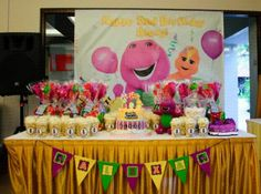 Barney Party ~ Decoration ~ Dessert table set up