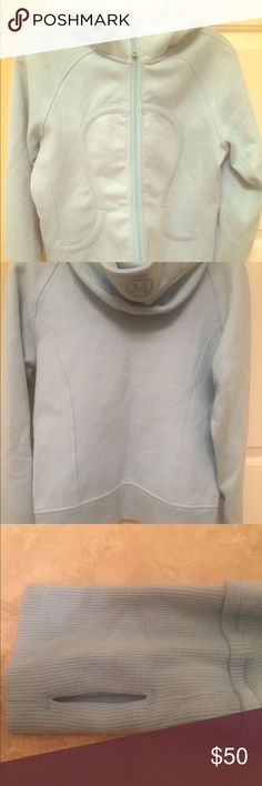 Lululemon Scuba Hoodie A warm and thick hoodie that is perfect for lounging around or pre and post workout. This is a baby blue/sky blue color. lululemon athletica Tops Sweatshirts & Hoodies