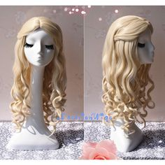 Alice in Wonderland the White Queen Cosplay Wig White Blonde Color... ($30) ❤ liked on Polyvore featuring beauty products, haircare, hair styling tools, bath & beauty, grey, hair care, wigs and curly hair care