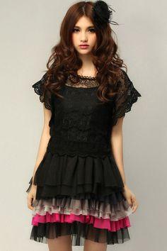 ROMWE   Two Piece Lace Black Dress, The Latest Street Fashion #ROMWEROCOCO.