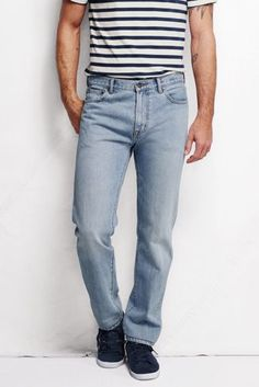 Men's Slim Tapered Fit Denim Jeans, Land's End Slim Man, Lands End, Denim Jeans, Pocket, Fitness, Favorite Things, How To Wear, Shopping, Fashion