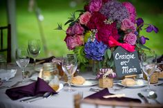 Rich jewel tones highlighted this wedding's color palette.