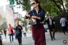 Sofia Sanchez Barrenechea on a street style photo taken after Rodarte during New York Fashion Week SS15.