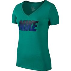 Women's Nike Block Graphic V-Neck Tee ($25) ❤ liked on Polyvore featuring tops, t-shirts, green oth, graphic print t shirts, cotton tee, blue v neck t shirt, v neck t shirts and cotton t shirts