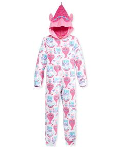 Ame Girls' or Little Girls' 1-Pc.Trolls Poppy Hug Me Hooded Pajamas by Dreamworks
