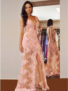 Sheath V-Neck Pink Lace Prom Dress with Appliques Beading,pink prom dresses,lace prom dresses,sexy prom dresses,long sleeve prom dresses Prom Dresses 2017, Formal Dresses, Prom Gowns, Party Dresses, Dress Party, Lace Evening Gowns, Formal Prom, Pink Lace, Blush Pink