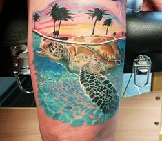 Amazing 3 colors realistic tattoo style of Turtle in sea motive done by tattoo artist Jacob Sheffield Tattoo Life, Sea Life Tattoos, Hawaiianisches Tattoo, World Tattoo, Mom Tattoos, Cute Tattoos, Body Art Tattoos, Tattoos For Guys, Tattoo Maori