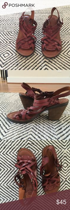 "Lucky Brand 7.5 leather sandal These lucky brand sandals are in good condition. Size stickers still in tact. I'm a size 7 or 6.5 in sandal so they're just too big. The heels are in great condition, very few wears. Heel is 2"" tall. Lucky Brand Shoes Sandals"