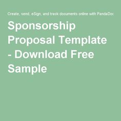 Sponsorship Proposal Template - Download Free Sample