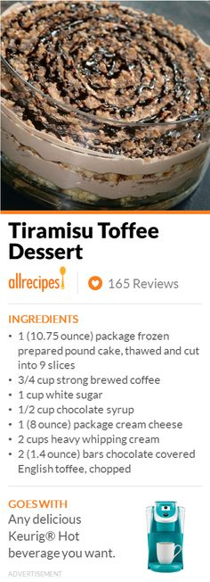 "Tiramisu Toffee Dessert | ""This is a nice version of the popular Italian pick-me-up dessert. The toffee candy in this recipe adds a delightful crunchiness to the smooth creamy whipped cream quality of an already perfect dessert."""