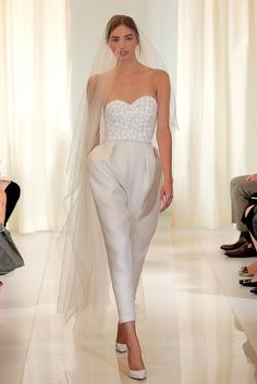 Pin for Later: 150 Must-See Styles From Bridal Fashion Week Autumn/Winter 2016 Angel Sanchez Princess Wedding Dresses, Modest Wedding Dresses, Bridal Dresses, Wedding Gowns, Angel Sanchez, Wedding Pantsuit, Iranian Women Fashion, Wedding Jumpsuit, Unconventional Wedding Dress