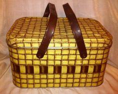 Antique Tins | Vintage picnic basket tin- Rent $6