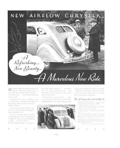 """""""A Refreshing New Beauty, A Marvelous New Ride,"""" 1934 Chrysler Airflow Ad"""