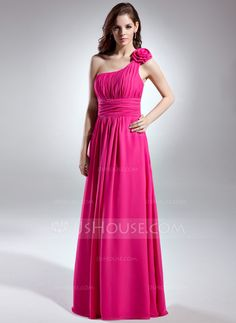 A-Line/Princess One-Shoulder Floor-Length Chiffon Bridesmaid Dress With Ruffle (007015613)