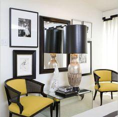 entrances/foyers - yellow black velvet cane chairs silver lamp black leather shade mirrored block table white cornice box black ribbon border trim white drapes entrance foyer entry
